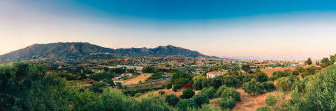Panoramic View Of Cityscape Of Mijas in Malaga, Andalusia, Spain. Panoramic View Of Mijas in Malaga, Andalusia, Spain. Summer Panorama Cityscape At Sunset Royalty Free Stock Photography