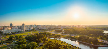 Panoramic view, cityscape of Minsk, Belarus. MINSK, BELARUS - June 2, 2015: Panoramic view cityscape of Minsk, Belarus. Summer season, sunset time Stock Photos