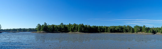 Panoramic view of clam flats in Maine Stock Image