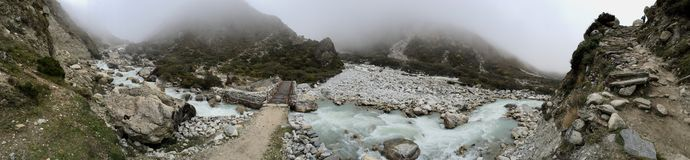 Panoramic view of clear clean stream with little bridge Stock Images