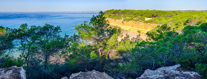 Panoramic view on the cliff coast near Tarragona, Spain Stock Photography