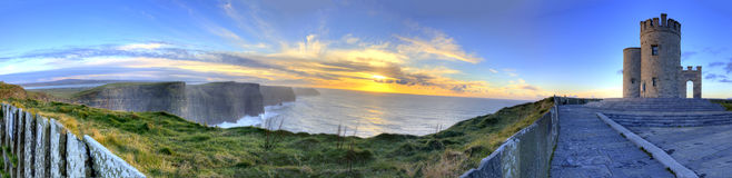 Panoramic view of the Cliffs of Moher at sunset.