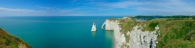 Panoramic view of the cliffs and the needle of Etretat stock photo