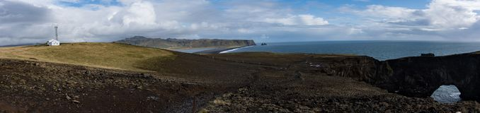 Panoramic view from the cliffs on the Vik black beach Stock Image