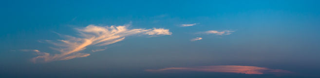 Panoramic view of clouds and blue sky. Background Royalty Free Stock Images