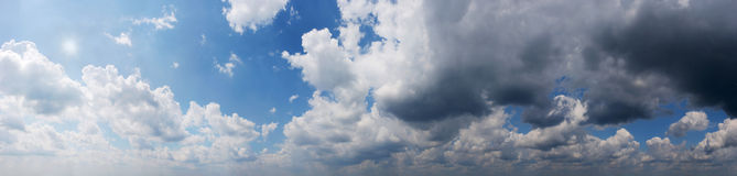 Panoramic view Cloudy sky. Texture, background royalty free stock photography