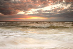 Panoramic view of cloudy sunset Stock Photos