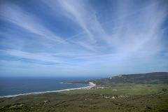 Beautiful unspoiled beach of the Coast of Tarifa in the province of cadiz, andalusia, spain. Panoramic view of the coast of Bologna, Tarifa Royalty Free Stock Photography