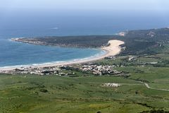 Beautiful unspoiled beach of the Coast of Tarifa in the province of cadiz, andalusia, spain. Panoramic view of the coast of Bologna, Tarifa Royalty Free Stock Photo