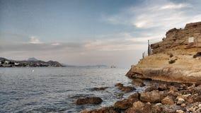 Panoramic view of the coast of San Juan, Alicante. Panoramic view of the coast of San Juan coves in Alicante. Cabo Huertas stock photography