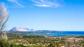Panoramic view of the coast of San Teodoro in Sardinia royalty free stock photo