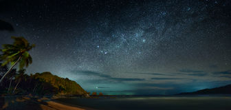 Panoramic view of the coast sea against the background of night stock photography