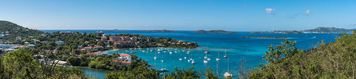 Panoramic View of a coastal bay on St. Johns Island. View of bay, boats, houses, resorts and distant small islands Stock Photos