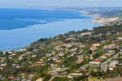 Panoramic View of Coastal Homes, California. Panormaic view of homes in La Jolla California from Mt. Soledad, in southern California near San Diego, on the coast royalty free stock photos