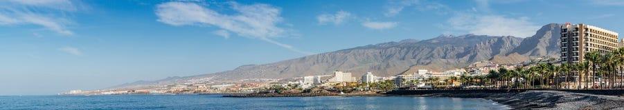 Panoramic view on coastline of Costa Adeje resort, Tenerife. COSTA ADEJE, SPAIN - JANUARY 17 2016: Panoramic view on coastline of famous Tenerife resort Stock Photos