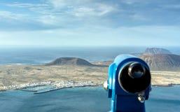 Panoramic view on coastline and Isla Graciosa from Mirador del Rio, Lanzarote Royalty Free Stock Images