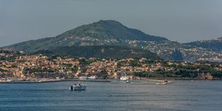 Panoramic view of the coastline of the island Procida and the port stock image