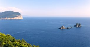 Panoramic view of the coastline and mountain landscape near Petrovac town stock photo