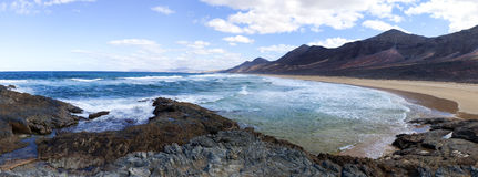 Panoramic view of the coastline near Cofete, Fuerteventura Stock Image