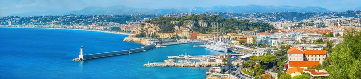 Wide panoramic view of seaside and Nice city. French riviera, Fr royalty free stock photo