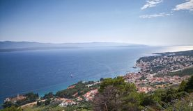 Panoramic view of a coastline village royalty free stock image