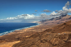 Panoramic view Cofete beach, Fuerteventura, Canary Islands, Spain. Cofete beach, view from Jandia peninsula, Fuerteventura, Canary Islands, Spain stock photography