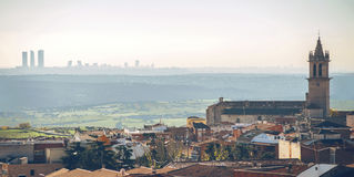 Panoramic view of Colmenar Viejo, a small town in Madrid. And the big city in the background Stock Photography