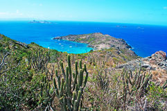 Panoramic view of Colombier beach, cactus, St Barth, sailboats. The island of St Barth, St. Barts, Saint-Barthélemy, French West Indies, French Antilles stock photo