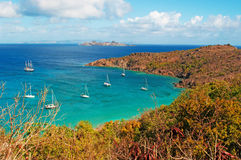 Panoramic view of Colombier beach, cactus, St Barth, sailboats. The island of St Barth, St. Barts, Saint-Barthélemy, French West Indies, French Antilles royalty free stock photo