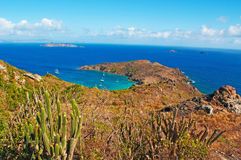 Panoramic view of Colombier beach, cactus, St Barth, sailboats Royalty Free Stock Images