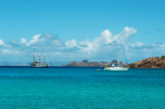 Panoramic view of Colombier beach, St Barth, sailboats. The island of St Barth, St. Barts, Saint-Barthélemy, French West Indies, French Antilles, Caribbean stock photo