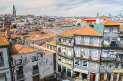 Panoramic view of colorful house in old town Porto, Portugal Royalty Free Stock Photos