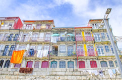 Panoramic view of colorful house in old town Porto, Portugal Royalty Free Stock Image