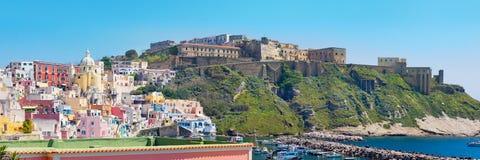 Marina Corricella and Terra Murata, Procida Island, Italy Royalty Free Stock Images