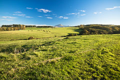 Panoramic view on colorful mountain la rhune over spring green meadow in blue sky royalty free stock photo