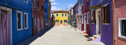 Panoramic view of Colorful street in Burano Stock Image