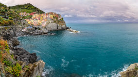 Panoramic view of colorful village Manarola, Cinque Terre Stock Image