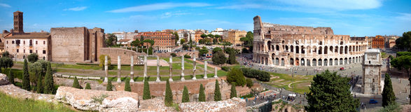 Panoramic view of Colosseo arc of Constantine and Venus temple R. Panoramic view of Colosseo arc of Constantine and Venus temple from Roman forum at Rome Stock Photos