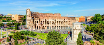 Panoramic view of the Colosseum (Coliseum) in Rome Royalty Free Stock Photography