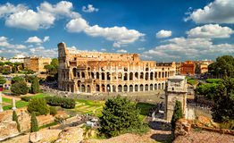 Panoramic view the Colosseum (Coliseum) in Rome Royalty Free Stock Photography