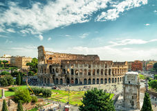 Panoramic view the Colosseum (Coliseum) in Rome Stock Images