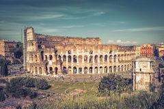 Panoramic view the Colosseum (Coliseum) in Rome Stock Image