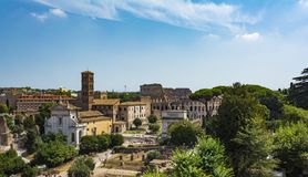 Panoramic view the Colosseum and Roman Forum from Palantine hill, Rome, Italy. Panoramic view the Colosseum Coliseum and Roman Forum from Palantine hill, Rome Royalty Free Stock Photos