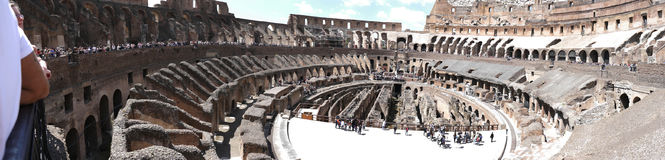Panoramic view of the Colosseum in Rome Italy Stock Images