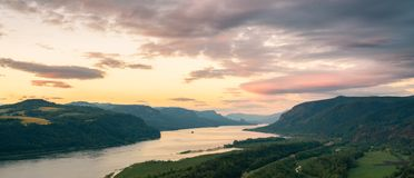 Panoramic view of the Columbia river gorge, Oregon. stock photo