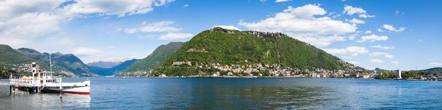 Panoramic view of Como city and lake near Milan in Italy. Panoramic view of Como city and lake near Milan - Italy Royalty Free Stock Images