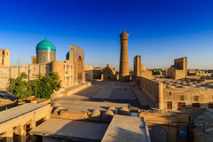 Panoramic view of the complex Poi Kolon at sunset, Bukhara, Uzbekistan Royalty Free Stock Photos