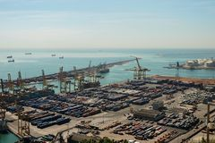 Panoramic view of containters in a harbour of Barcelona Stock Photo