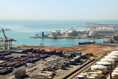 Panoramic view of containters in a harbour of Barcelona Royalty Free Stock Image