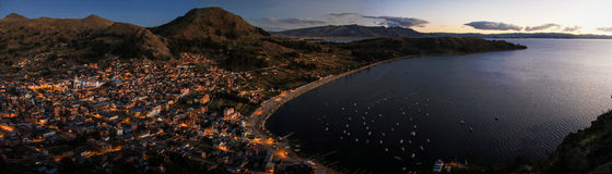Panoramic view of Copacabana from the Cerro Calvario, Copacabana, Lake Titicaca, Bolivia Stock Images